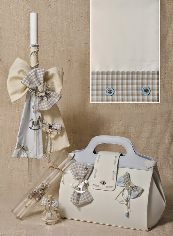 Set for greek christening rocking horse themed