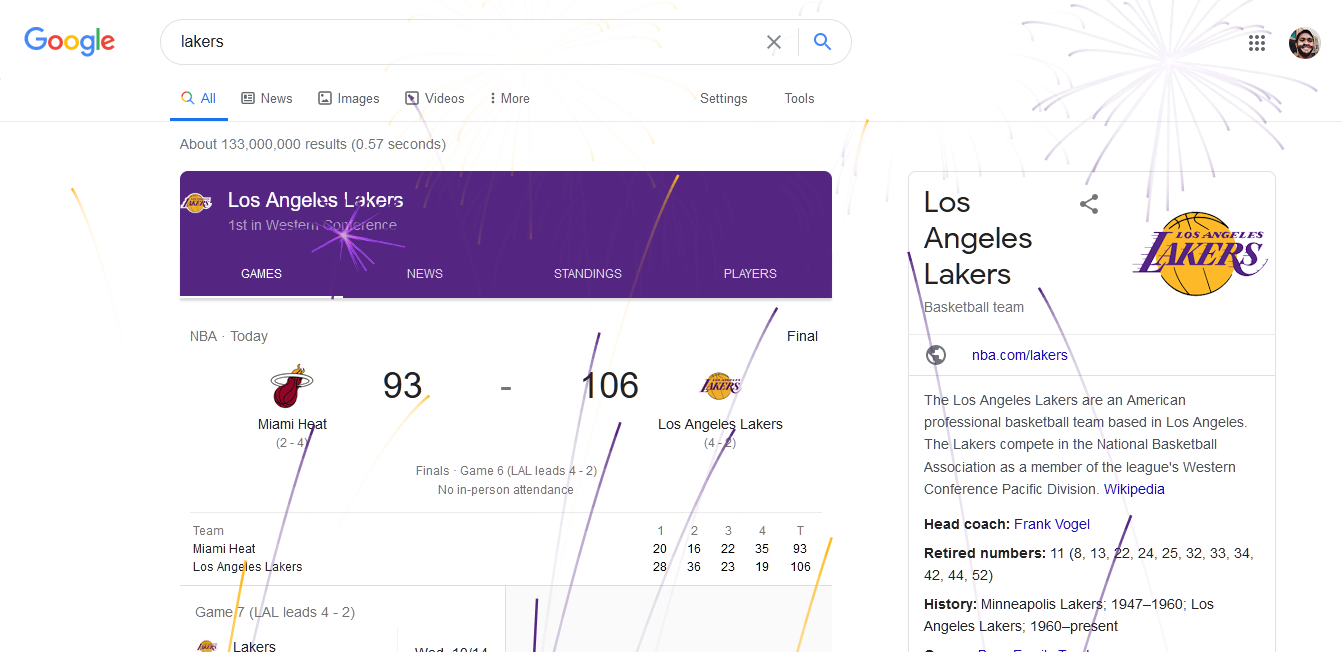 google celebrate lakers win nba champion 2020