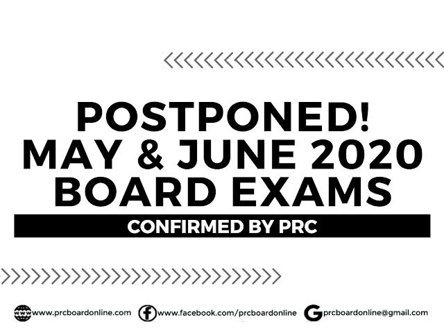 Postponed! May and June 2020 PRC Board Exams