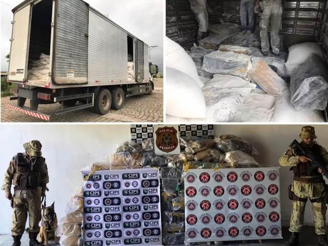 Duas toneladas de droga apreendidas escondidas em carga de farinha