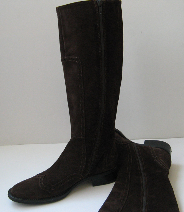 Womens Brown Suede Riding Boots