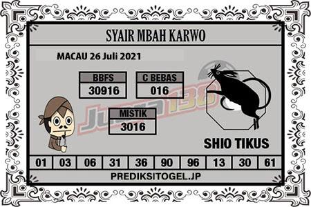 Syair Mbah Karwo Togel Macau Senin 26 Juli 2021