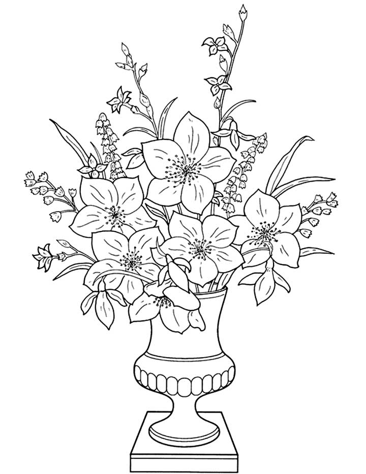 Flower Vase Coloring Pages - Flower Coloring Page