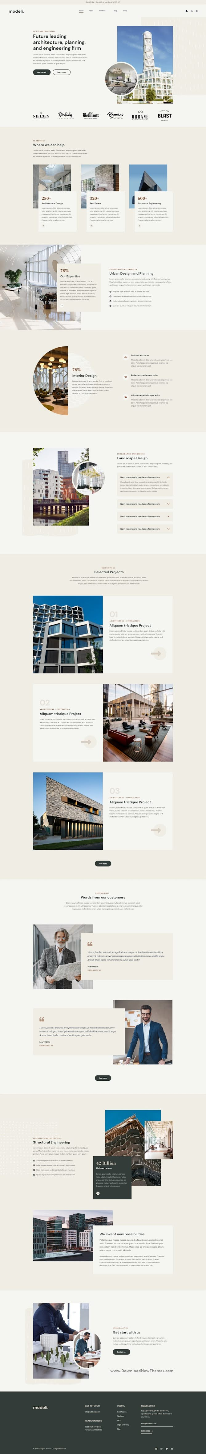Modeli - Architecture and Engineering Adobe XD Template