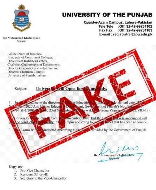 Beware of Fake News Regarding Exams of Punjab University