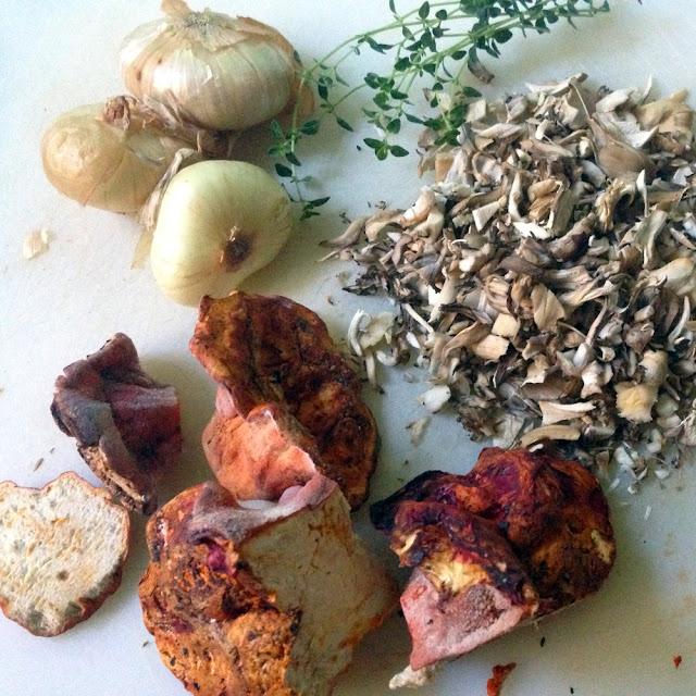 Ingredients for Creamy Lobster Mushroom Soup. Cippolini onions, maitake mushrooms, lobster mushrooms, lemon thyme.