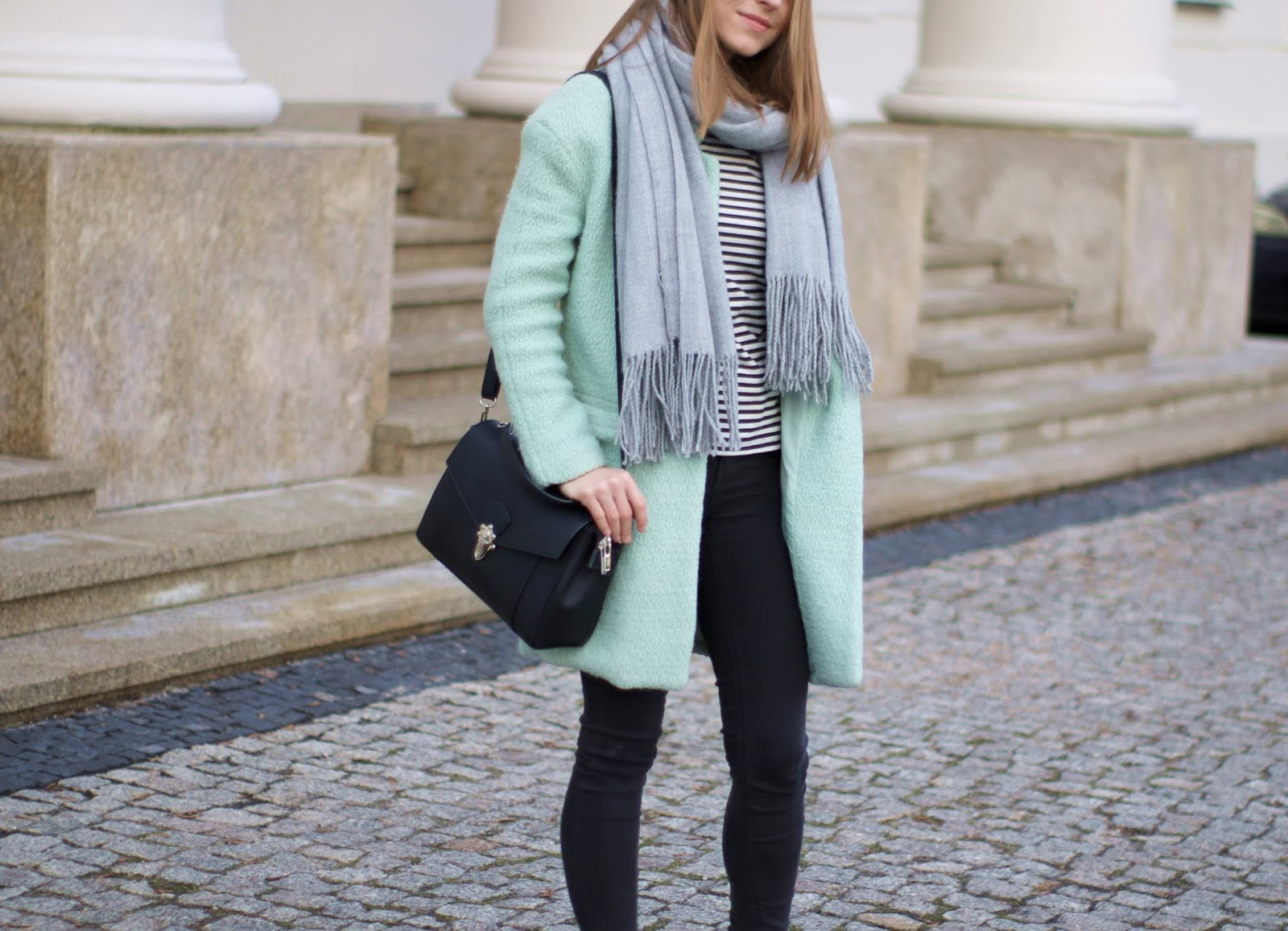 Mint coat & stripes