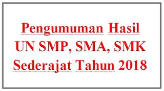 Pengumuman Hasil UN SMP, SMA, SMK Sederajat Tahun 2018