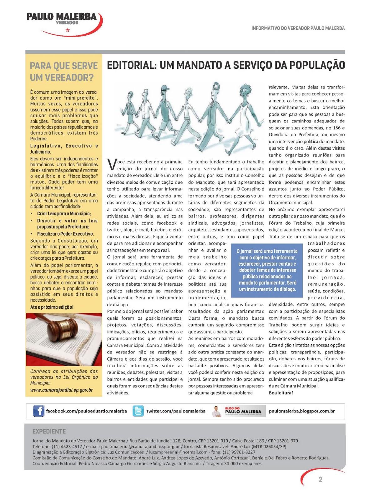 Blog do PAULO MALERBA: Jornal do Mandato – Edição nº  1