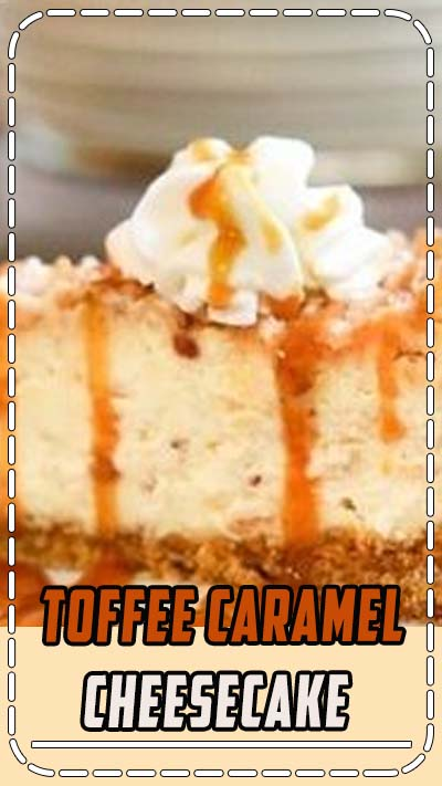 It's creamy. It's dreamy. This easy to make, decadent Toffee Caramel Cheesecake has melted bits of toffee in the filling, crunchy toffee bits on the top, whipped cream... and caramel sauce.  GRAB A FORK!!  #cheesecake #easy #dessert