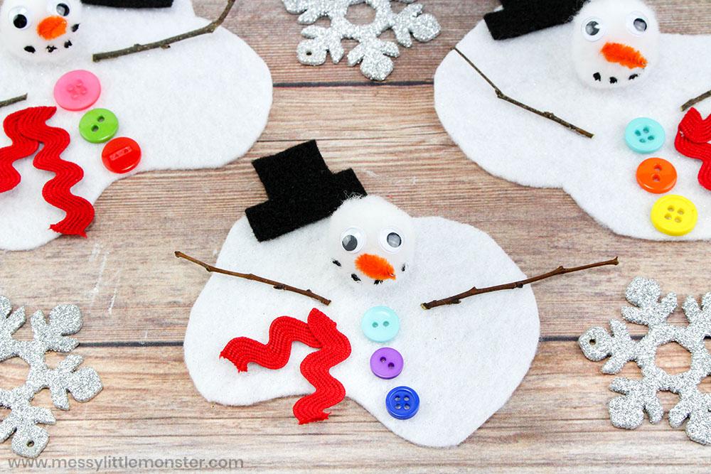 Melting snowman craft for kids