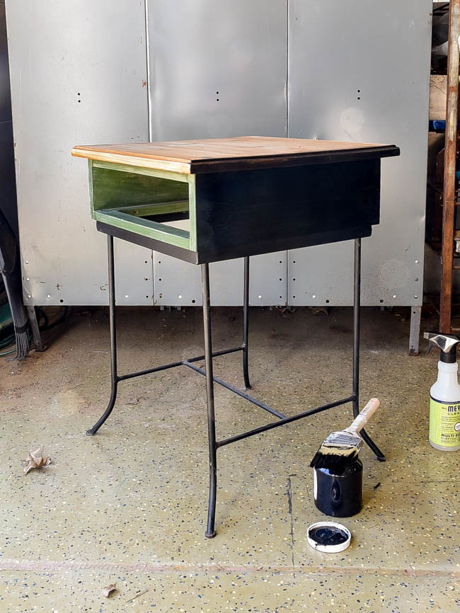 Painted side table black