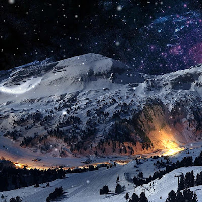 Winter Mountain Snow Glowing City Stars Wallpaper Engine