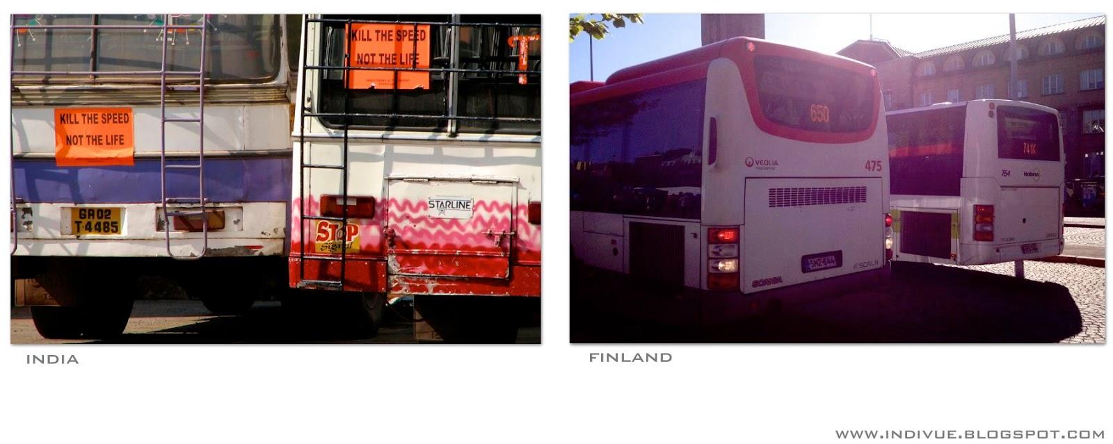 Intialainen bussi ja suomalainen bussi