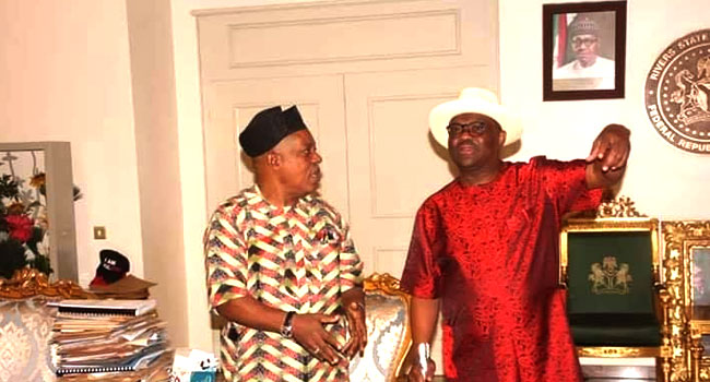 Rivers State Governor, Nyesom Wike, with PDP National Chairman, Mr Uche Secondus, at the Government House in Port Harcourt on October 5, 2019. Photo: Facebook- @GovernorNyesomEzenwoWikeCON.