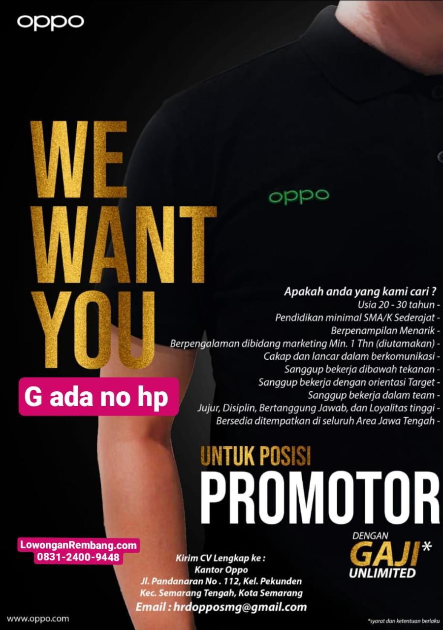 Lowongan Kerja Promotor HP OPPO Rembang