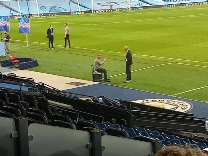 Pictures: Zidane and Guardiola interacts with each others behind the scenes after Manchester City win