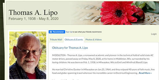 Professor Thomas Lipo, U. of Wisconsin, Madison (Source: Linkedin obituary)