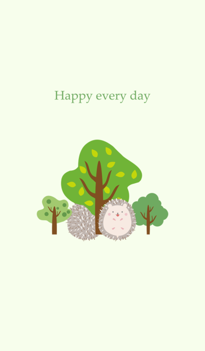 Forest trees and hedgehogs