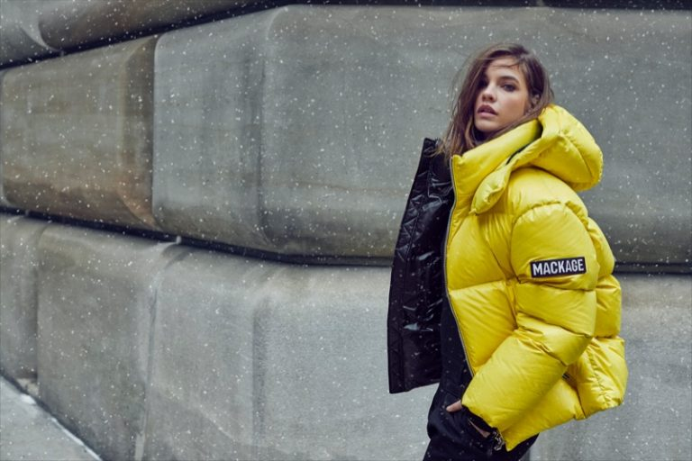Rocking a yellow jacket, Barbara Palvin fronts Mackage fall-winter 2019 campaign