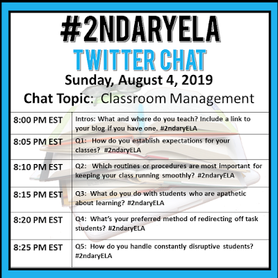 Join secondary English Language Arts teachers Sunday evenings at 8 pm EST on Twitter. This week's chat will be about classroom management.
