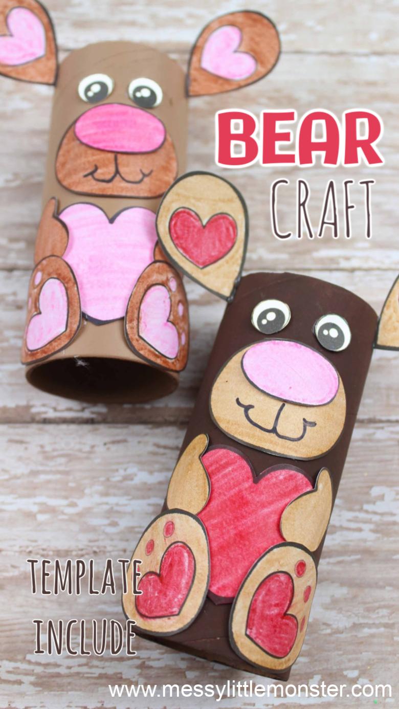cardboard tube bear craft for preschoolers. Free printable bear template.