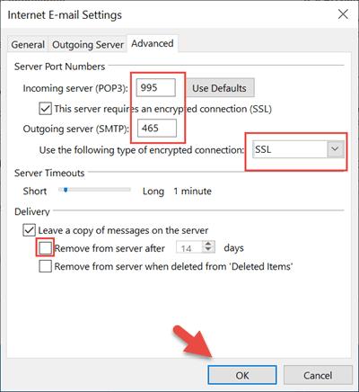 Cài đặt Gmail trên Outlook bằng POP3