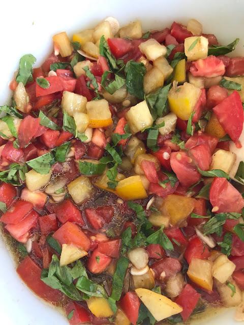 Bowl of the bruschetta tomato sauce mixture.