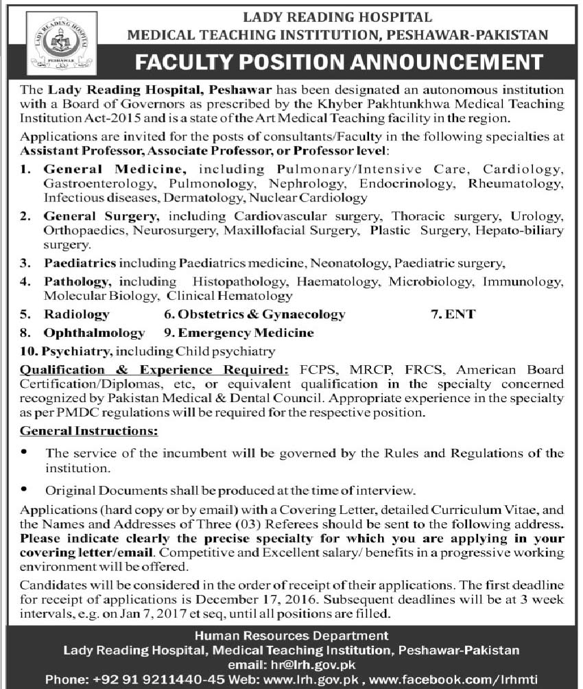 Lady Reading Hospital Peshawar Jobs