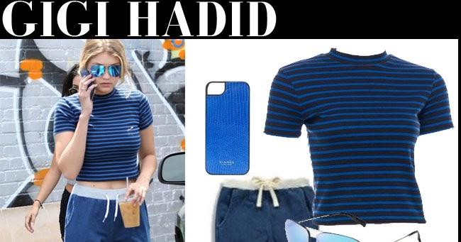 Gigi Hadid in blue stripe crop top and blue sweats in Los ...