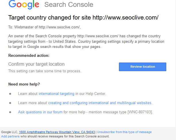 International Targeting in Google Search Console Email