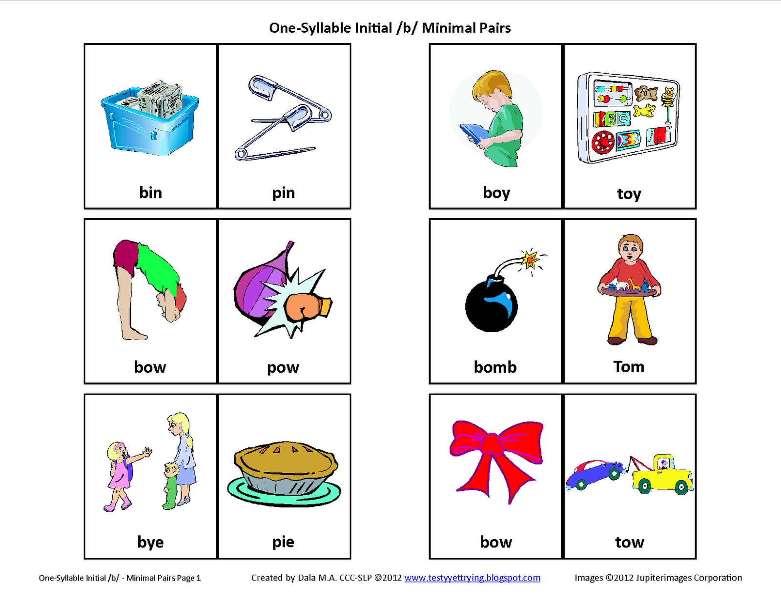 Testy Yet Trying Initial B Minimal Pairs Free Speech Therapy Articulation Picture Cards