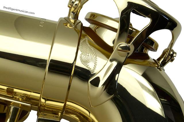 SeleS Axos Alto Saxophone Eb tone hole engraving detail