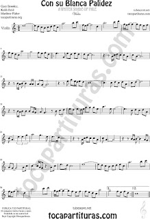 Violín Partitura de  Con Su Blanca Palidez Sheet Music for Violin Music Scores