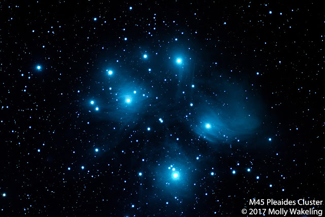 Photo of the Pleiades Cluster, also known as the Seven Sisters.