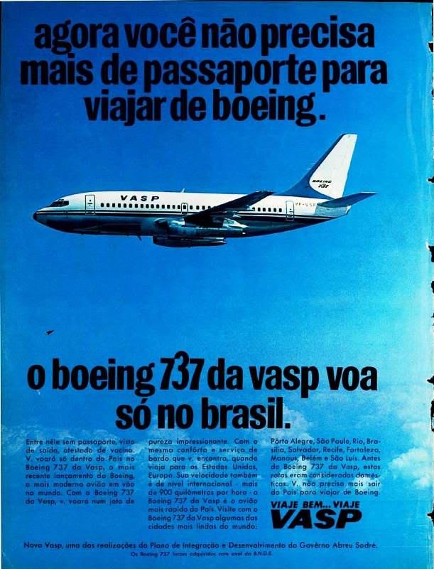 Campanha publicitária da VASP para promover a frota do Boeing 737 exclusiva da companhia aérea