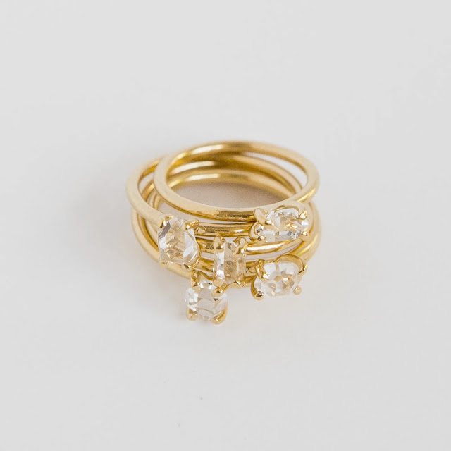 Stack of Mini Herkimer Diamond Stacking Ring in Gold Vermeil