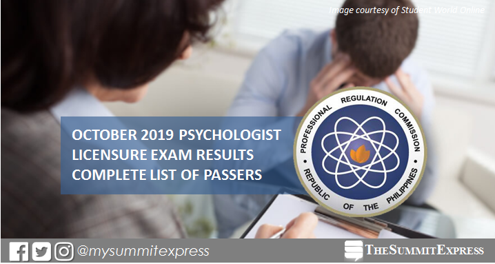 FULL RESULTS: October 2019 Psychologist board exam list of passers, top 10