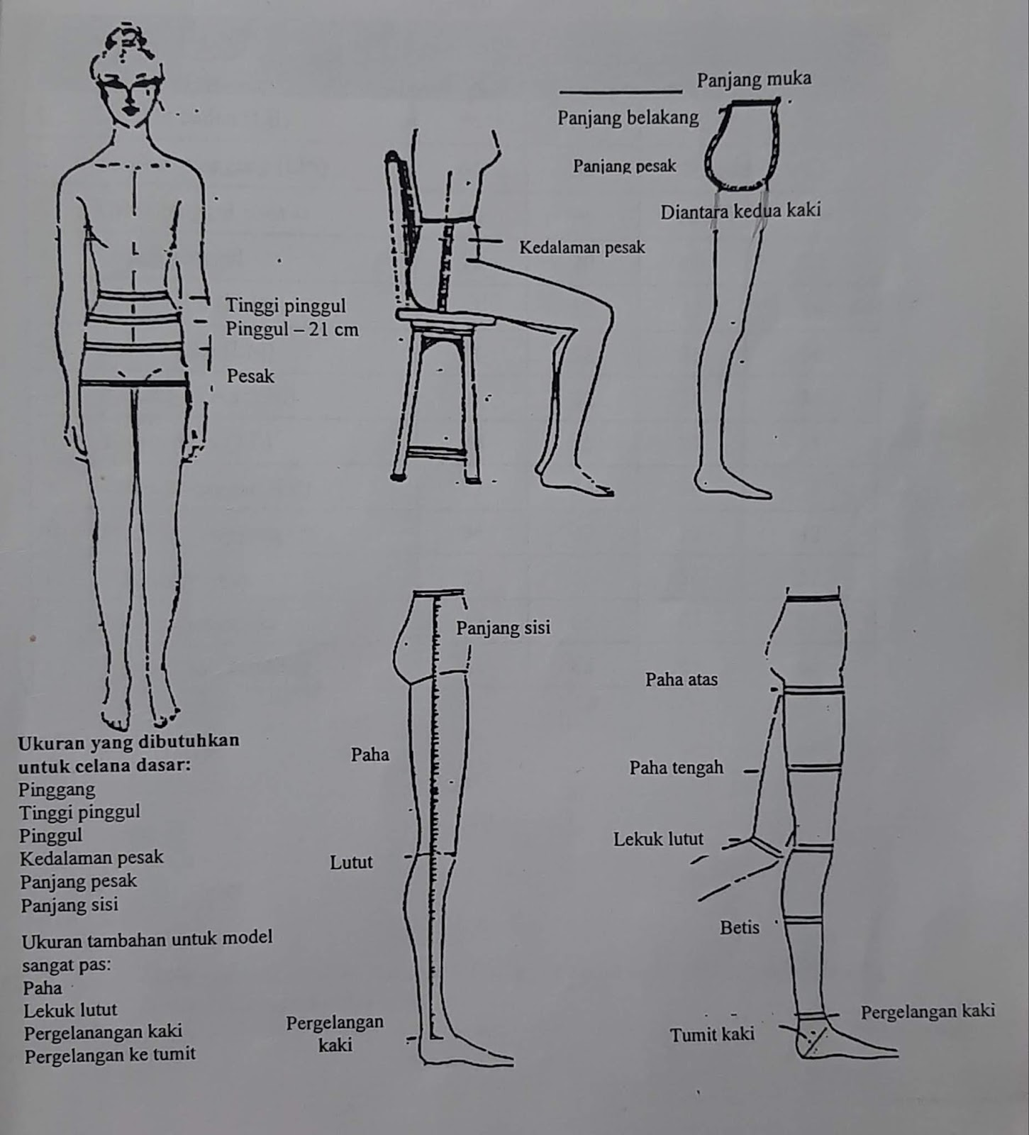 bagian tubuh ukuran celana