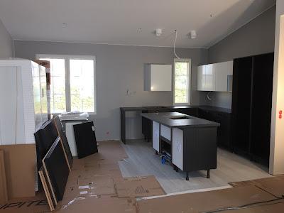 maalattu välitila, mustavalkoinen keittiö, saareke keittiö, integroidut kodinkoneet, puustelli