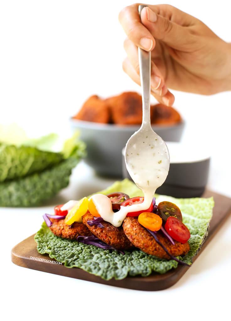 Baked Falafel with Vegan Yogurt Sauce   danceofstoves.com #vegan