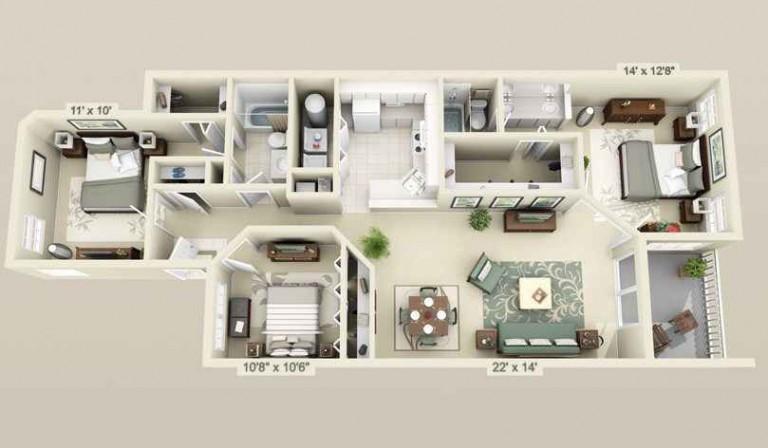 75 Denah Rumah Minimalis 3 Kamar Tidur 3d Modern Terbaru