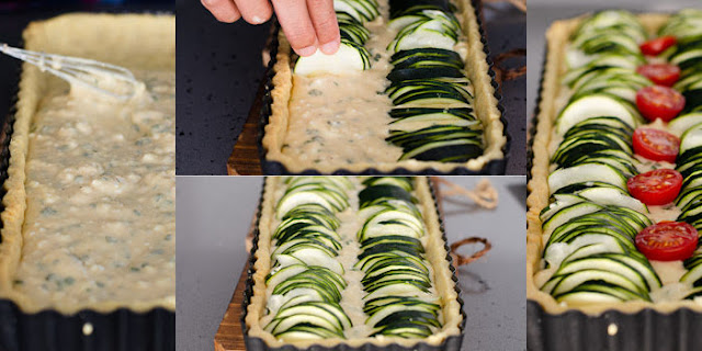 Arranging courgette in the tart pan