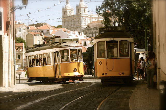 yellow tram on street
