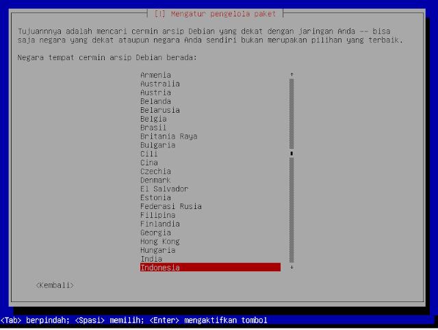 Instalasi Debian - Mengatur lokasi pengolahan paket