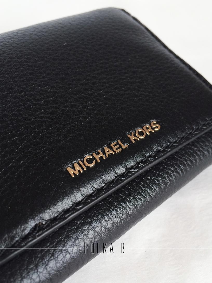 bf048118e240 Michael Kors Liane Small Leather Billfold - Black   Polka B ...