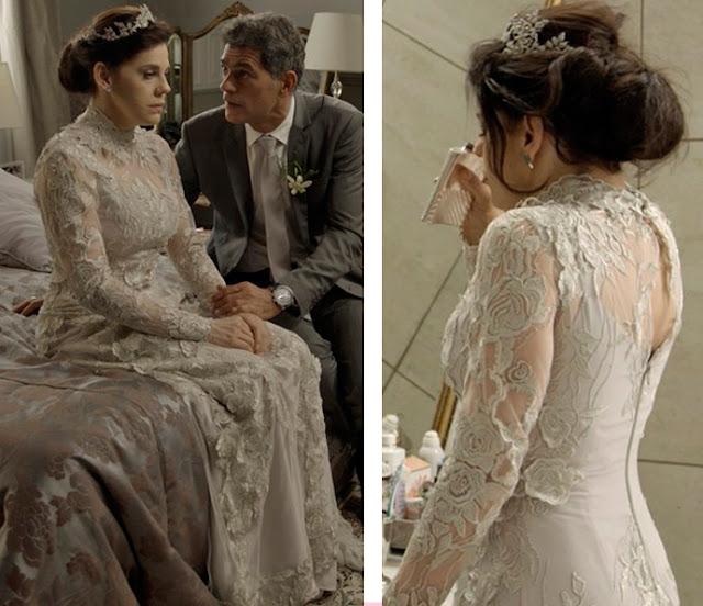 Nelita (Barbara Paz) vestido de noiva, casamento com Orlando, A regra do Jogo novela