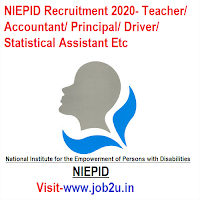 NIEPID Recruitment 2020, Teacher, Accountant, Principal, Driver, Statistical Assistant