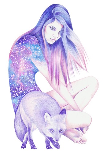 """Galaxy Wanderer"" by Andrea Hrnjak | dibujos bonitos a lapiz | imagenes lindas | illustration art"