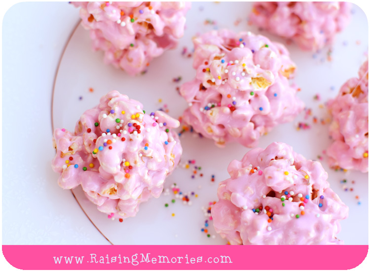 Homemade Pink Princess Popcorn Balls with Rainbow Sprinkles